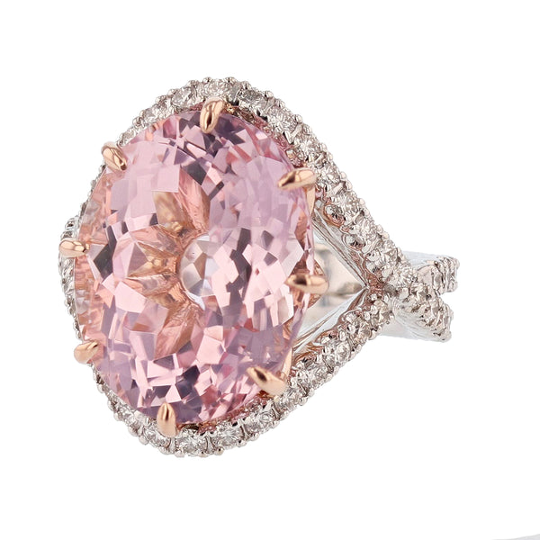 Nazarelle 14 Karat White and Rose Gold 12.86C Morganite and Diamond Ring - Nazar's & Co.