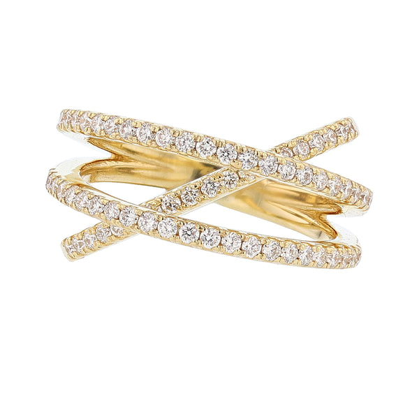Nazarelle 18K Yellow Gold Criss Cross Diamond Ring - Nazar's & Co.