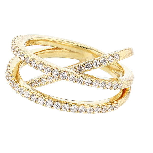 Nazarelle 18K Yellow Gold Criss Cross Diamond Ring, Rings, Nazar's & Co. - Nazar's & Co.