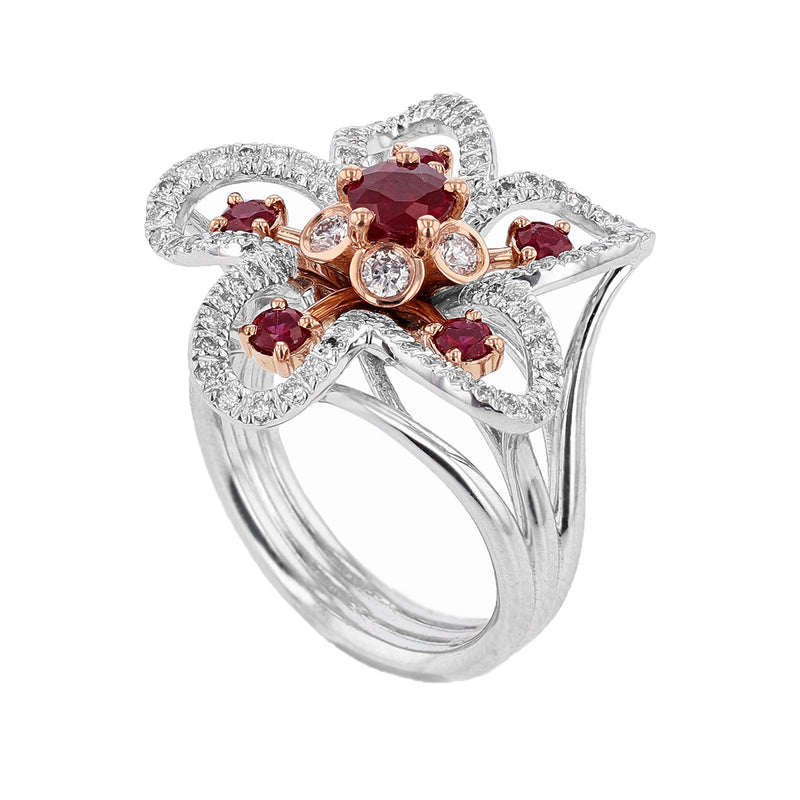 Nazarelle 14 Karat White and Rose Gold Ruby and Diamond Flower Ring - Nazar's & Co.