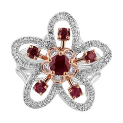 Nazarelle 14 Karat White and Rose Gold Ruby and Diamond Flower Ring, Rings, Nazar's & Co. - Nazar's & Co.