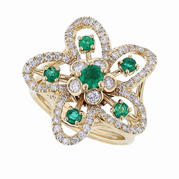 Nazarelle 18 Karat Yellow Gold Emerald and Diamond Flower Ring, Rings, Nazar's & Co. - Nazar's & Co.
