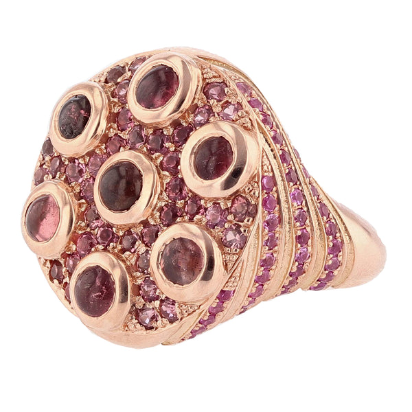 Nazarelle 14 Karat Rose Gold Pink Tourmaline and Pink Sapphire Ring - Nazar's & Co.