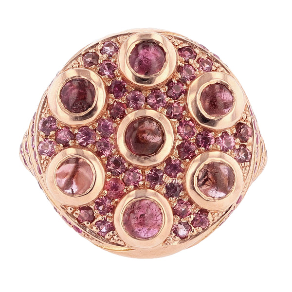 Nazarelle 14 Karat Rose Gold Pink Tourmaline and Pink Sapphire Ring, Rings, Nazar's & Co. - Nazar's & Co.