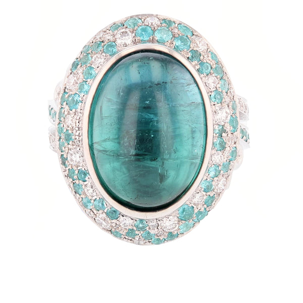 Nazarelle 14K Gold 11.50C Blue Tourmaline, Diamond, and Paraiba Tourmaline Ring - Nazar's & Co.