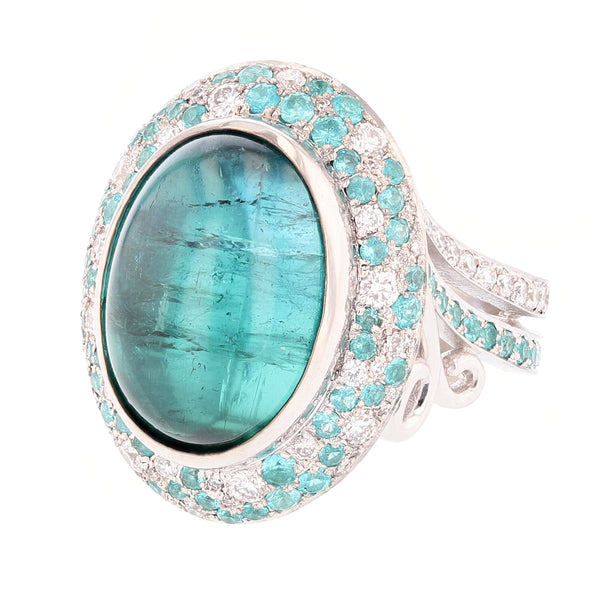 Nazarelle 14K Gold 11.50C Blue Tourmaline, Diamond, and Paraiba Tourmaline Ring, Rings, Nazar's & Co. - Nazar's & Co.