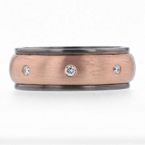 Nazarelle Men's Rose and Black Gold and Diamond Band, Rings, Nazar's & Co. - Nazar's & Co.