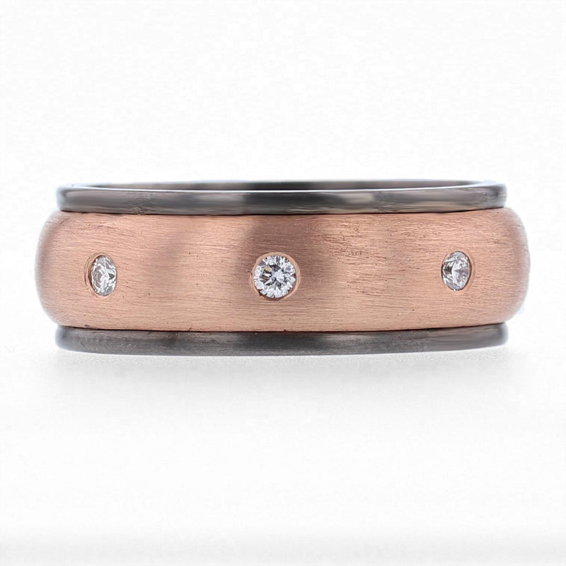 Nazarelle Mens Rose and Black Gold and Diamond Band, Rings, Nazar's & Co. - Nazar's & Co.
