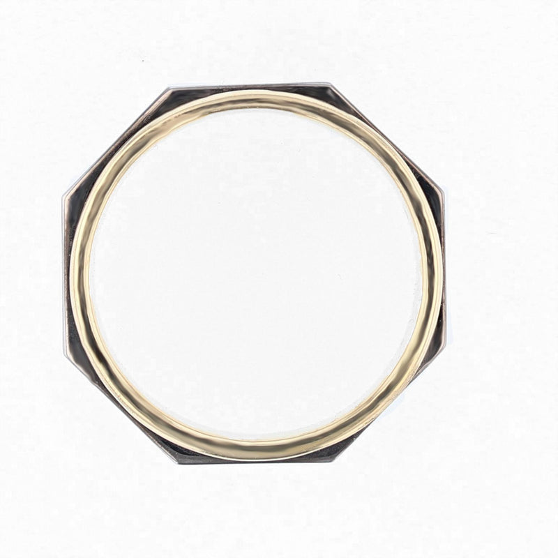 Nazarelle Mens Black and Yellow Gold Polished Band, Rings, Nazar's & Co. - Nazar's & Co.