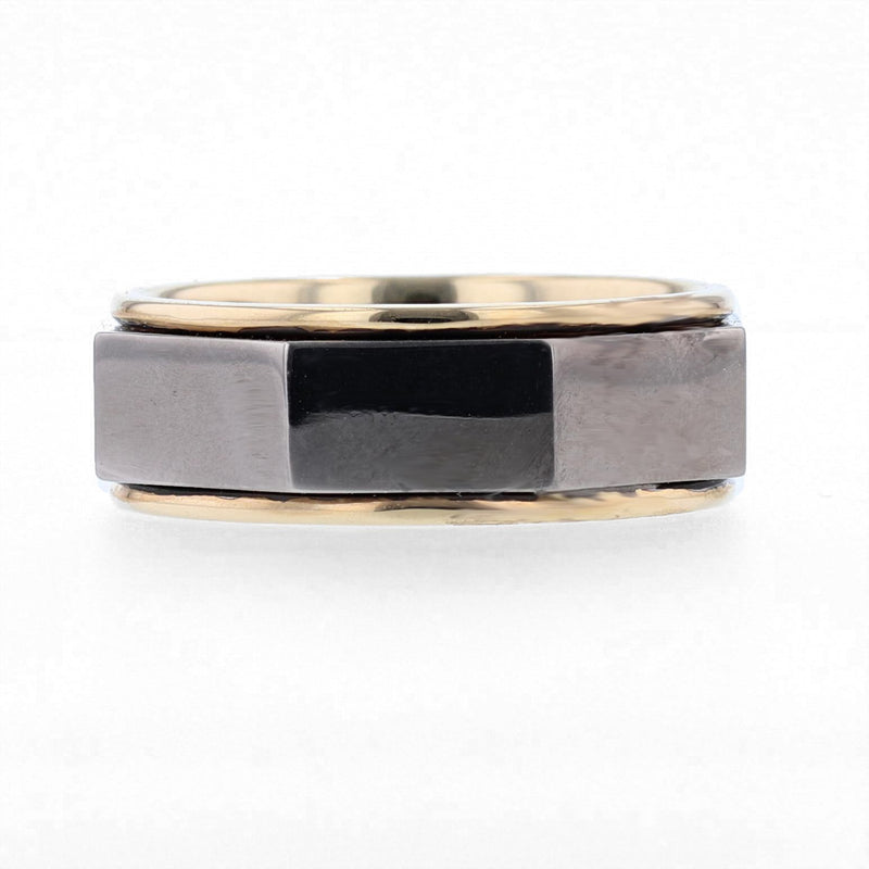 Nazarelle Men's Black and Yellow Gold Polished Band, Rings, Nazar's & Co. - Nazar's & Co.