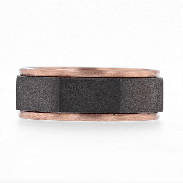 Nazarelle Mens Black and Rose Gold Band, Rings, Nazar's & Co. - Nazar's & Co.