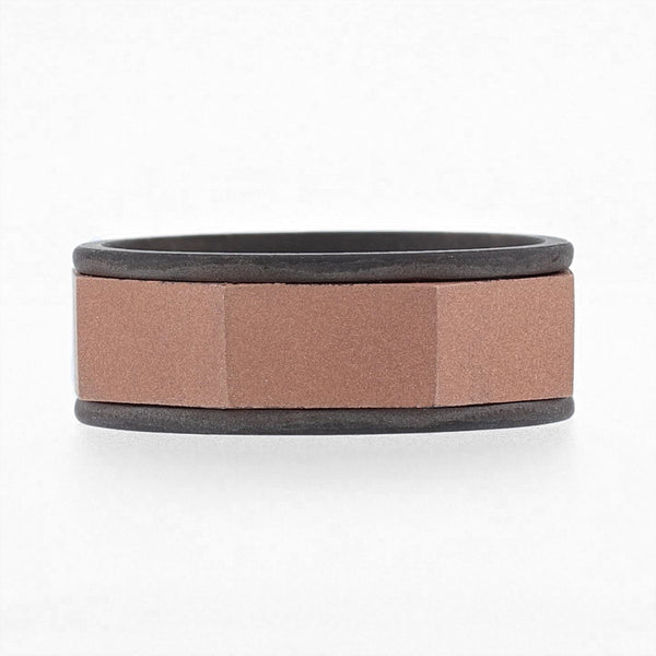 Nazarelle Mens Rose and Black Gold Band, Rings, Nazar's & Co. - Nazar's & Co.