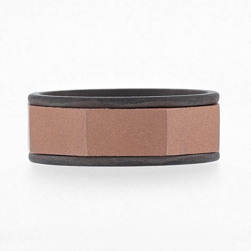 Nazarelle Men's Rose and Black Gold Band, Rings, Nazar's & Co. - Nazar's & Co.