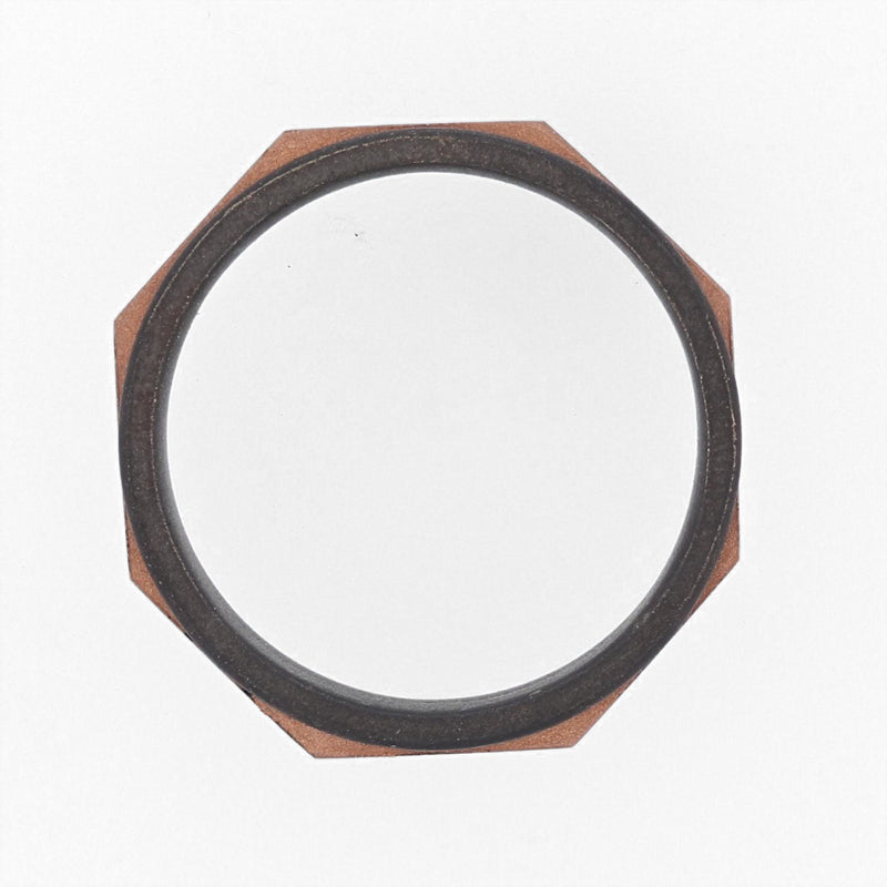 Nazarelle Men's Rose and Black Gold Band - Nazar's & Co.