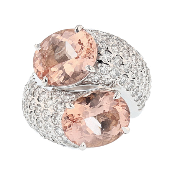 Nazarelle 14 Karat White Gold 9.74 Carat Double Morganite and Diamond Ring - Nazar's & Co.