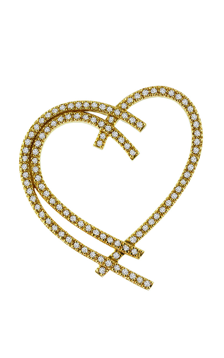 14K Yellow Gold Diamond Heart Pendant - Nazar's & Co.