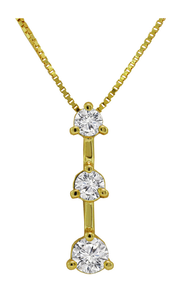 14K Yellow Gold Diamond Drop Pendant Necklace - Nazar's & Co.