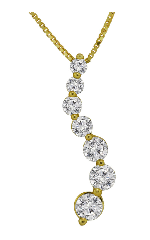14K Yellow Gold Diamond Journey Necklace - Nazar's & Co.