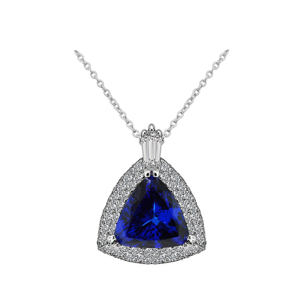 14K White Gold 16.13 Carat Tanzanite and Diamond Necklace - Nazar's & Co.