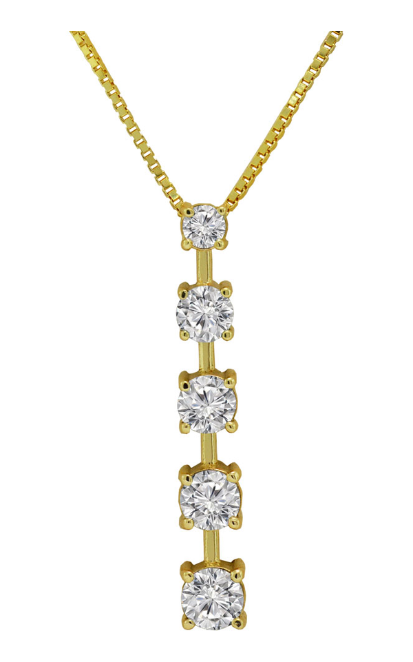 14K Yellow Gold Diamond Journey Necklace, Necklaces, Nazar's & Co. - Nazar's & Co.