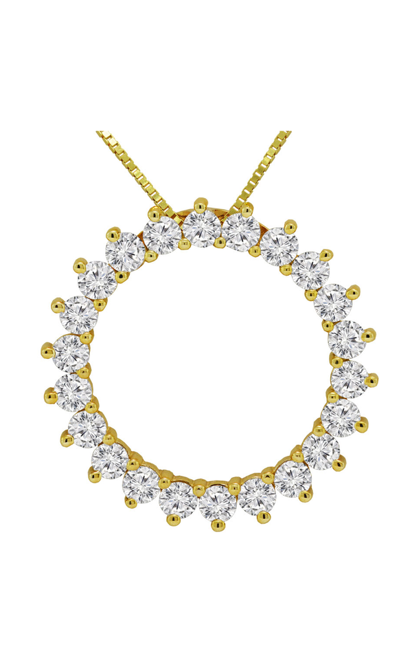 14K Yellow Gold Diamond Circle Pendant - Nazar's & Co.
