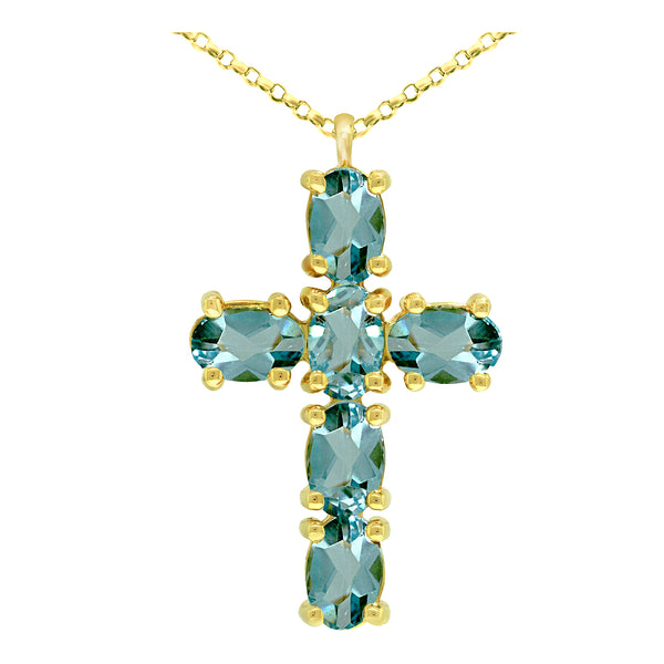 14K Yellow Gold Blue Topaz Cross Pendant - Nazar's & Co.