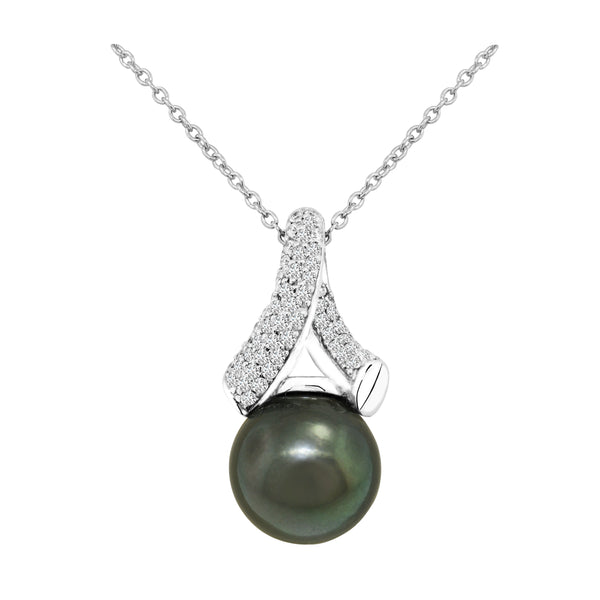 14K White Gold Tahitian Pearl and Diamond Pendant - Nazar's & Co.