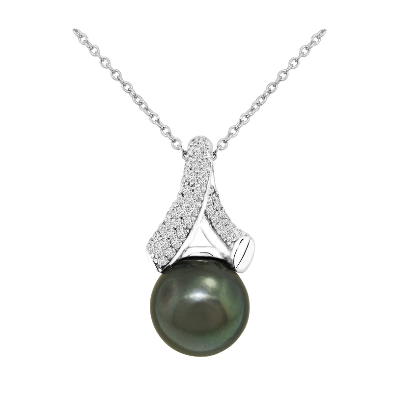 Tahitian Pearl and Diamond Pendant Necklace, Necklaces, Nazar's & Co. - Nazar's & Co.
