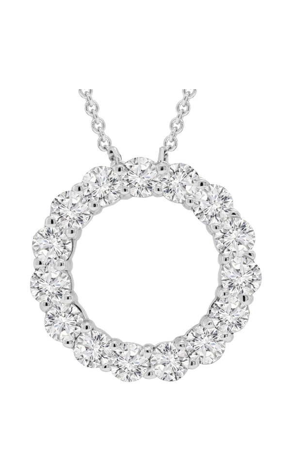 14K White Gold Diamond Circle Pendant - Nazar's & Co.