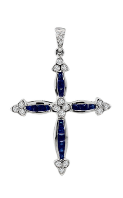 Diamond and Sapphire Cross Pendant Necklace, Necklaces, Nazar's & Co. - Nazar's & Co.