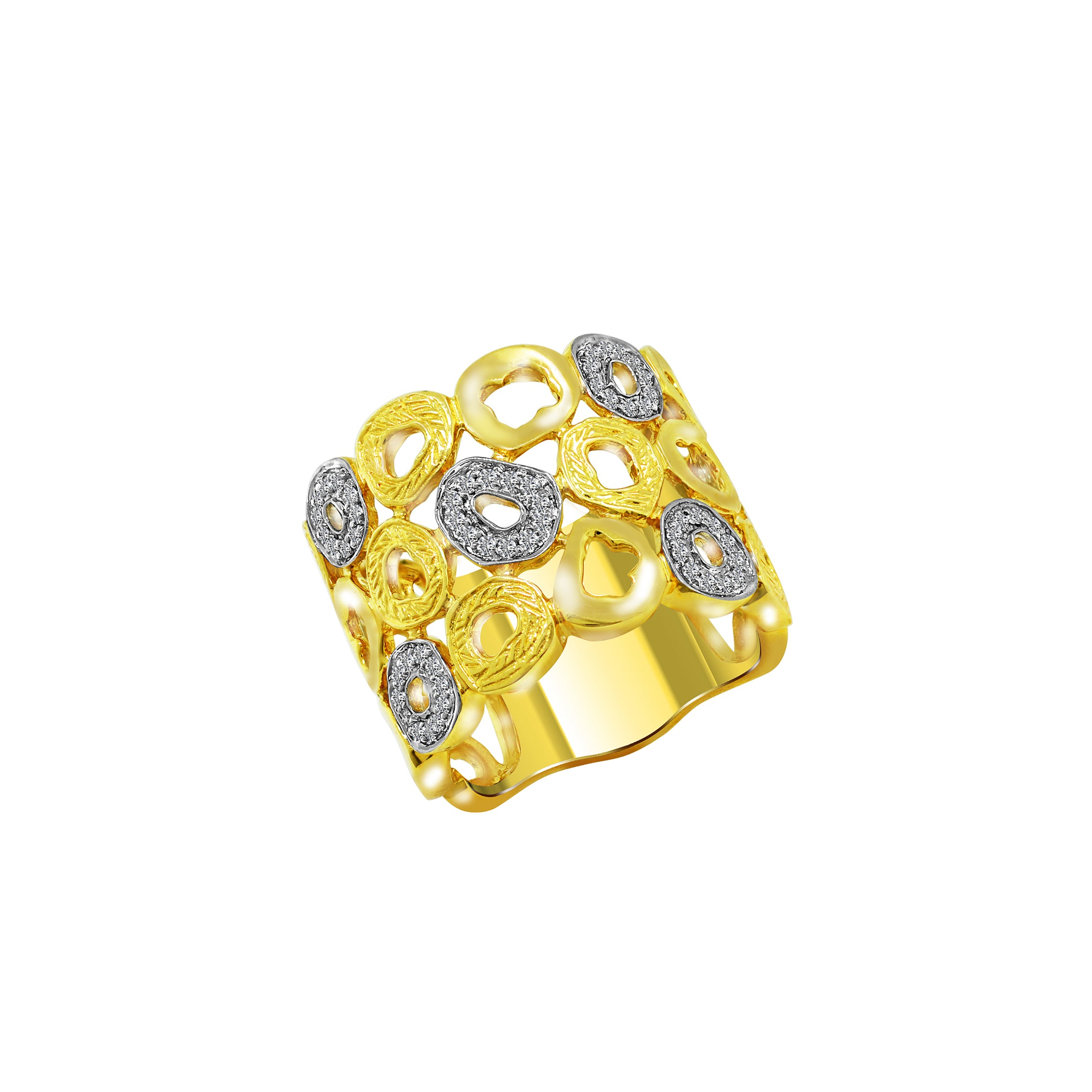 14K White and Yellow Gold with Diamond Ring, Rings, Nazar's & Co. - Nazar's & Co.