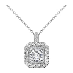 Nazar Couture 14K White Gold Asscher Cut Diamond Pendant - Nazar's & Co.