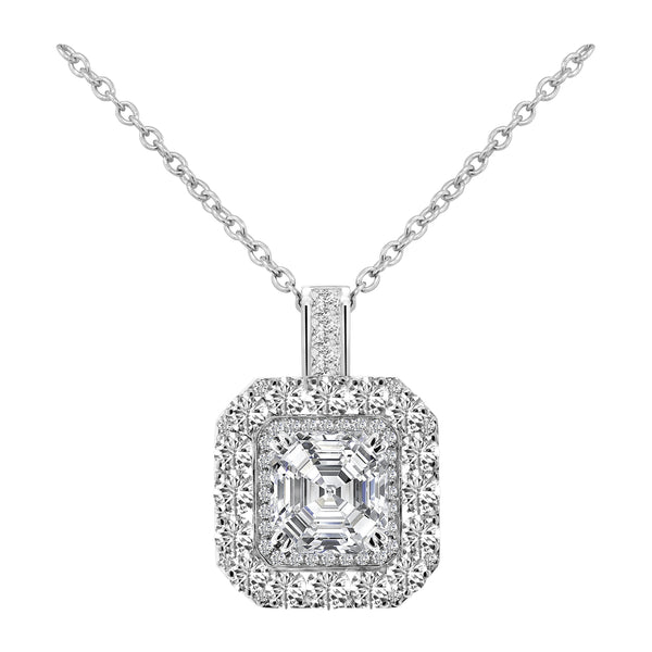 Nazar Couture 14K White Gold Asscher Cut Diamond Pendant, Necklaces, Nazar's & Co. - Nazar's & Co.