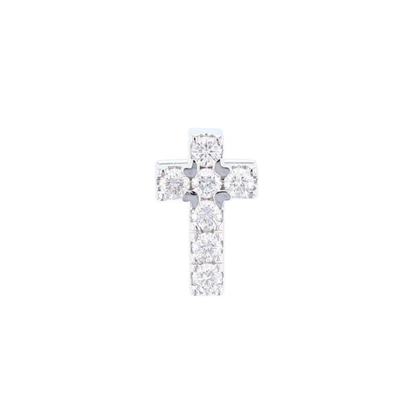 14K White Gold Diamond Cross Pendant - Nazar's & Co.