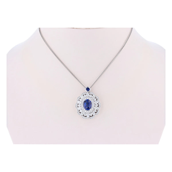 14K White Gold 3.64 Carat Blue Sapphire and Diamond Pendant - Nazar's & Co.