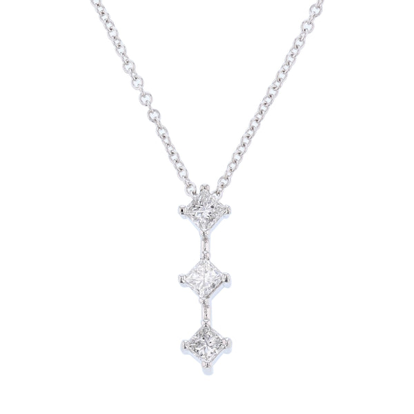 14K White Gold Princess Cut Diamond Drop Pendant Necklace - Nazar's & Co.