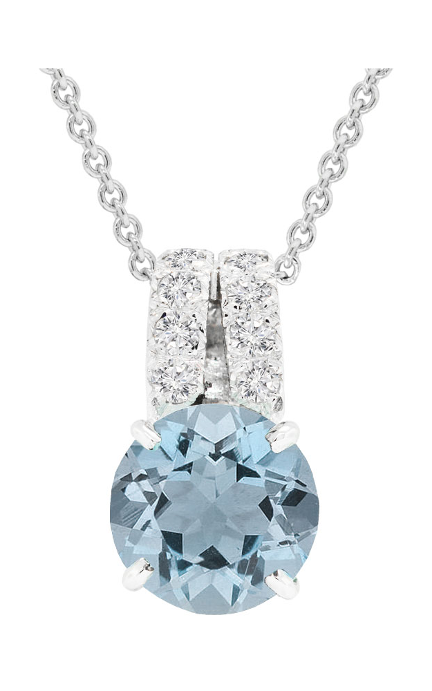 14K White Gold Aquamarine and Diamond Pendant, Necklaces, Nazar's & Co. - Nazar's & Co.