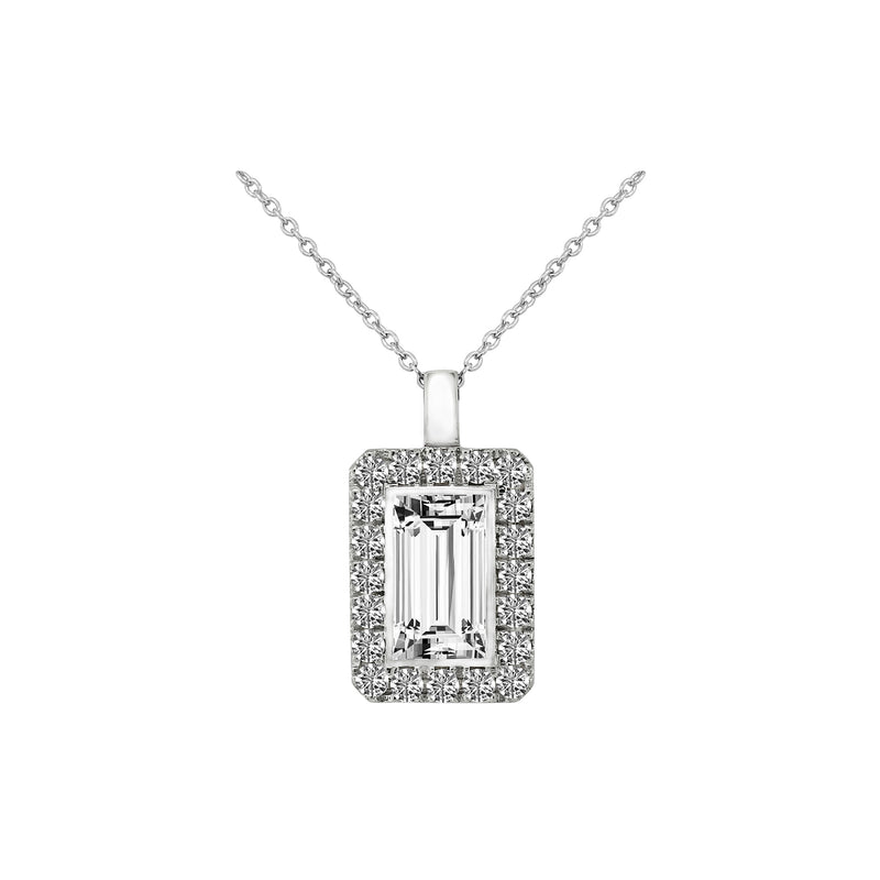 Nazar's Collection Emerald Cut Diamond with Halo Pendant Necklace, Necklaces, Nazar's & Co. - Nazar's & Co.