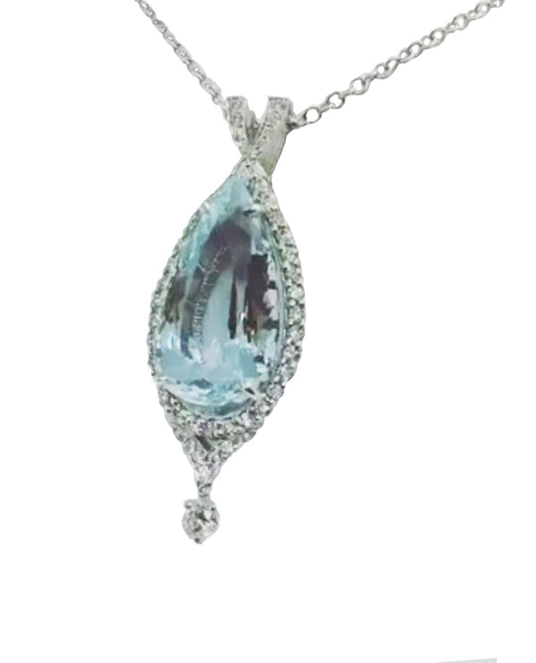 14K White Gold 9.34 Carat Aquamarine and Diamond Pendant - Nazar's & Co.