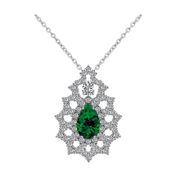 14K White Gold 1.93 Carat Pear Emerald and Diamond Pendant - Nazar's & Co.
