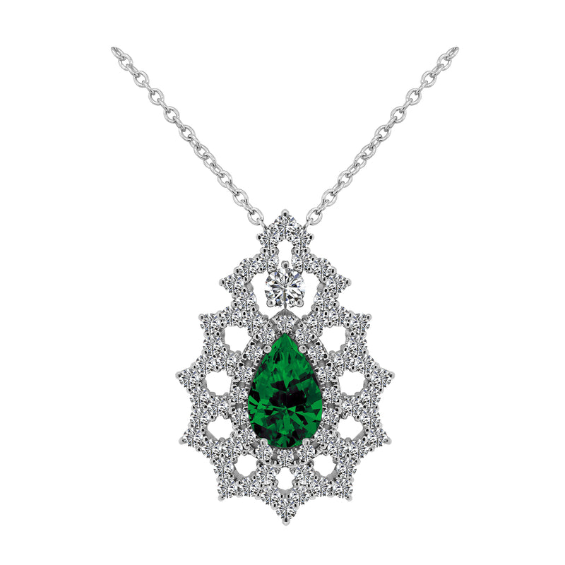 Nazar Couture One-Of-A-Kind Green Emerald and Diamond Pendant Necklace, Necklaces, Nazar's & Co. - Nazar's & Co.