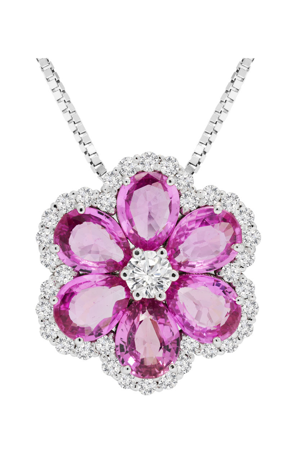14K White Gold Pink Sapphire and Diamond Pendant, Necklaces, Nazar's & Co. - Nazar's & Co.