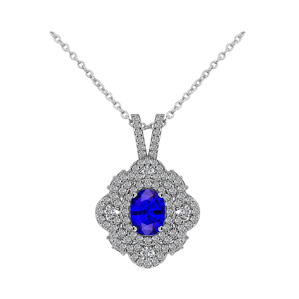 14K White Gold 3.00 Carat Blue Sapphire and Diamond Pendant - Nazar's & Co.