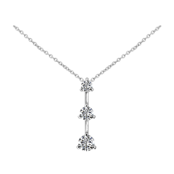 14K White Gold Diamond Drop Pendant Necklace - Nazar's & Co.