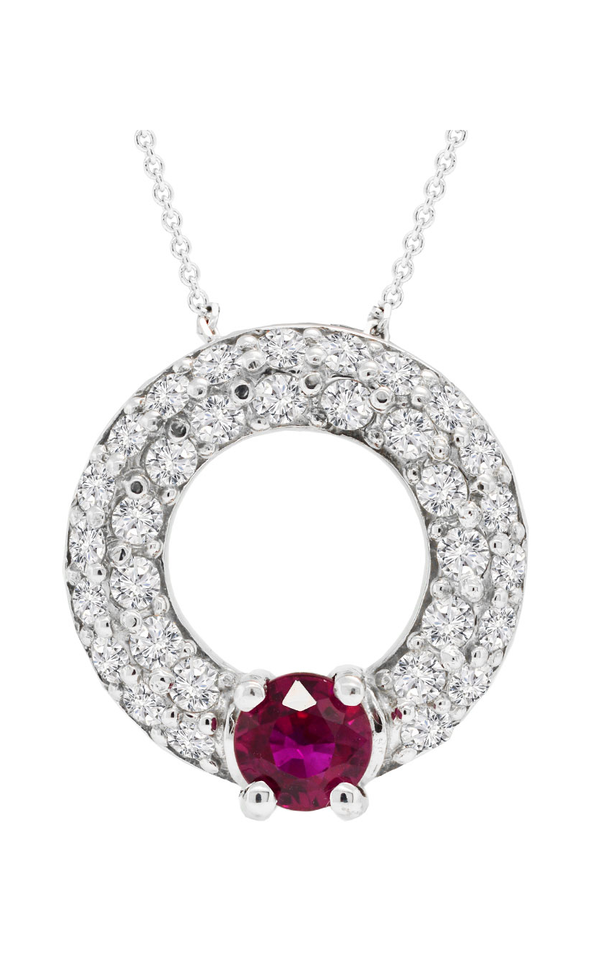 Nazar's Collection Diamond and Ruby Circle Pendant Necklace, Necklaces, Nazar's & Co. - Nazar's & Co.