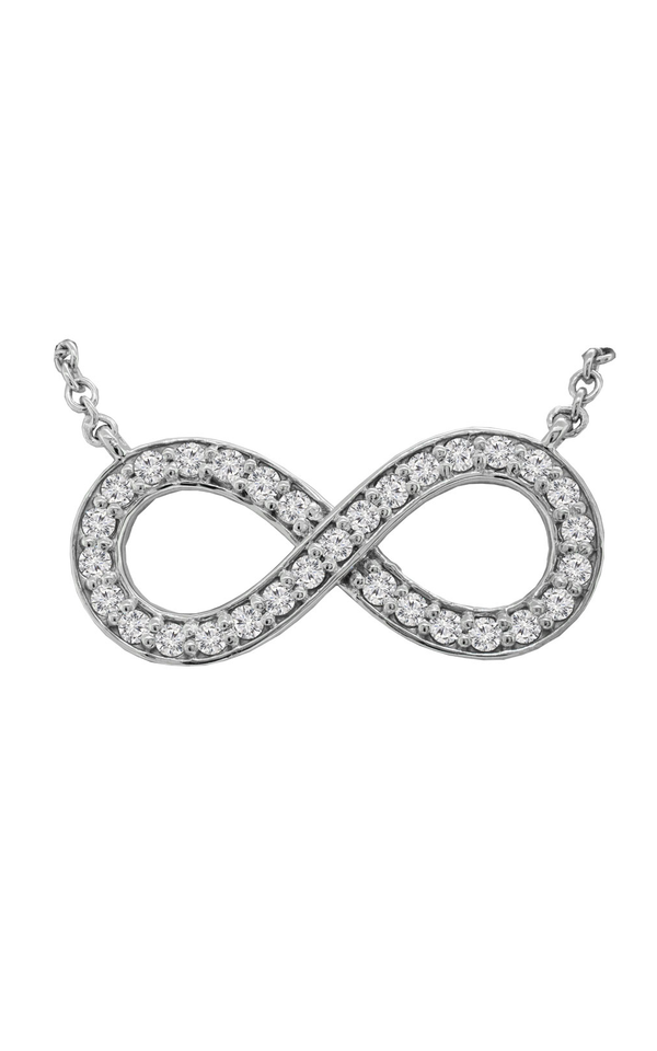 14K White Gold Diamond Infinity Sign Necklace - Nazar's & Co.