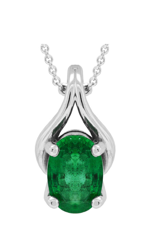 14K White Gold and Emerald Pendant Necklace, Necklaces, Nazar's & Co. - Nazar's & Co.