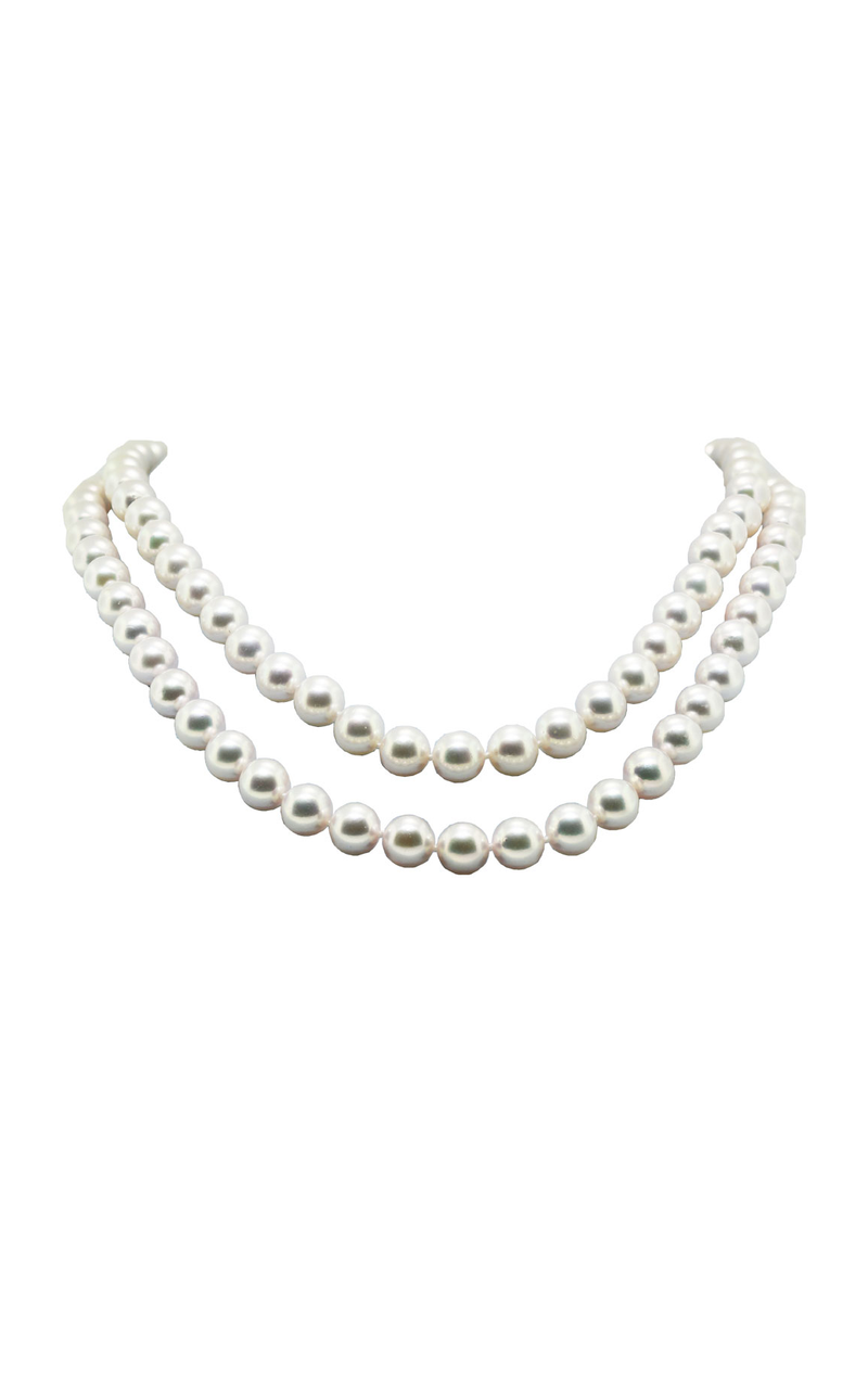 14K White Gold Cultured Pearl Double-Strand Necklace, Necklaces, Nazar's & Co. - Nazar's & Co.