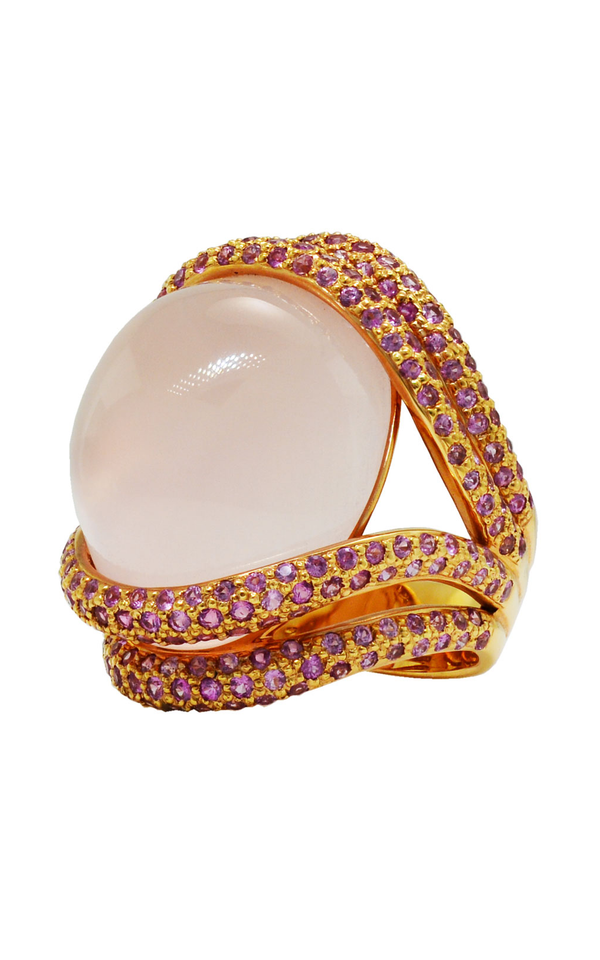 18K Rose Gold Rose Quartz and Pink Sapphire Ring, Rings, Nazar's & Co. - Nazar's & Co.