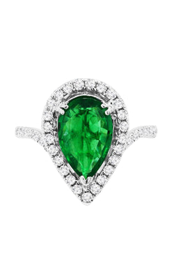 18K White Gold Green Emerald and Diamond Ring - Nazar's & Co.